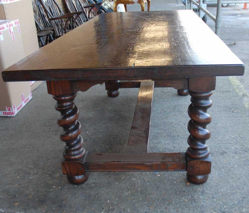 Table de réfectoire rustique anglaise avec pieds torsadés en orge