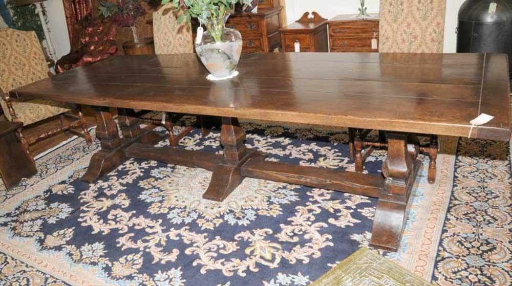 Table de salle à manger de réfectoire avec tréteaux en chêne des prés de 10 pieds