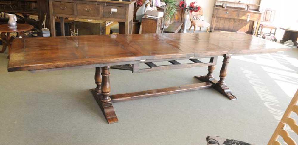 Table extensible de réfectoire en chêne, cuisine de ferme