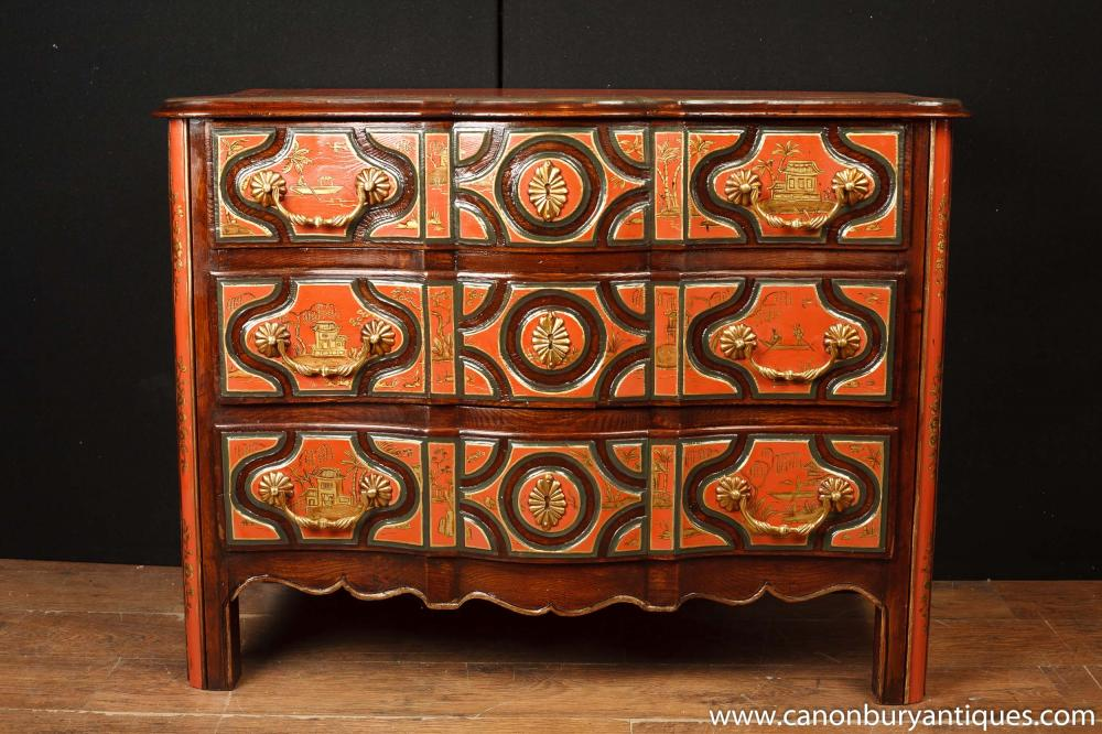 Tiroirs en laque rouge - Commode Chinoise à l'Ancienne Chinoiserie