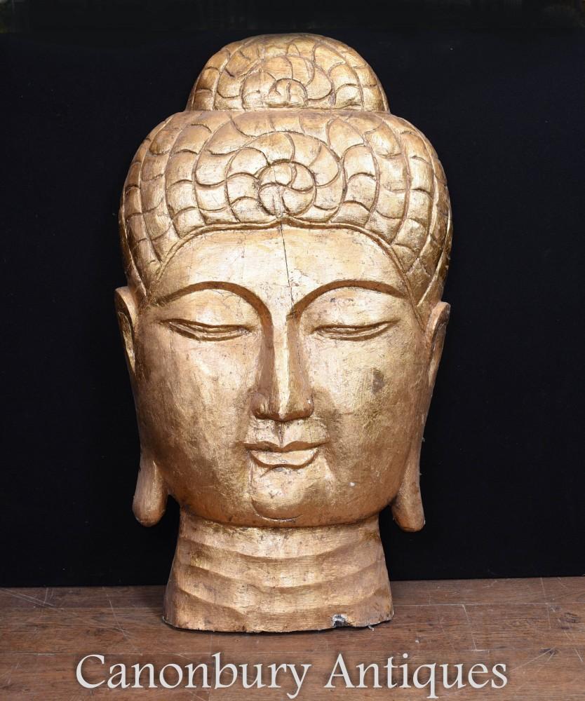 Buste de Bouddha Tibétain Sculpté - Sculpture d'Art Bouddhiste Sculptée à la Main