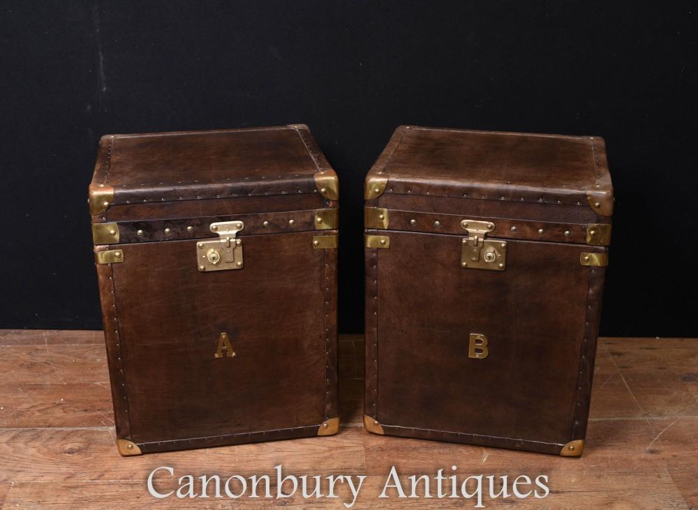 Coffres à bagages pour coffre à vapeur - Paire de tables d'appoint en cuir