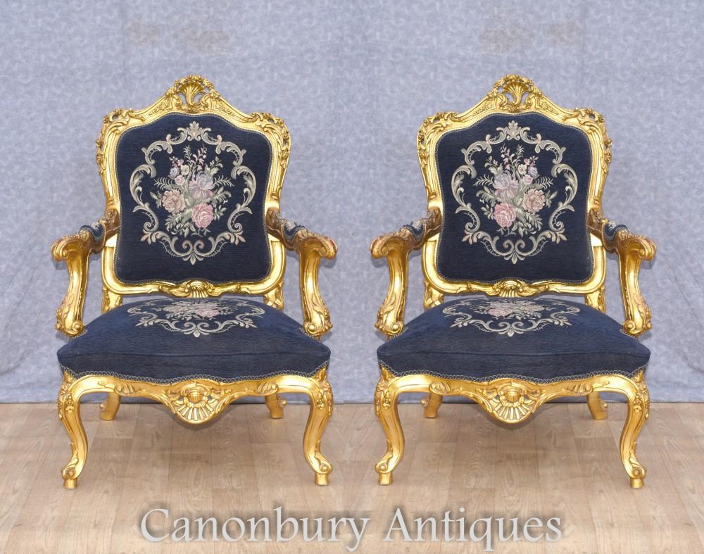 Paire de fauteuils rococo - Sièges d'appoint doré à la française