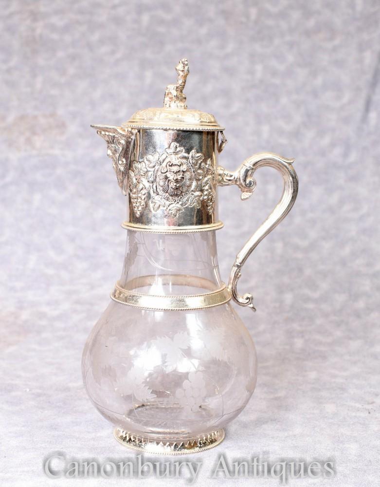 Pichet en verre à plaque d'argent - Victorian Decante