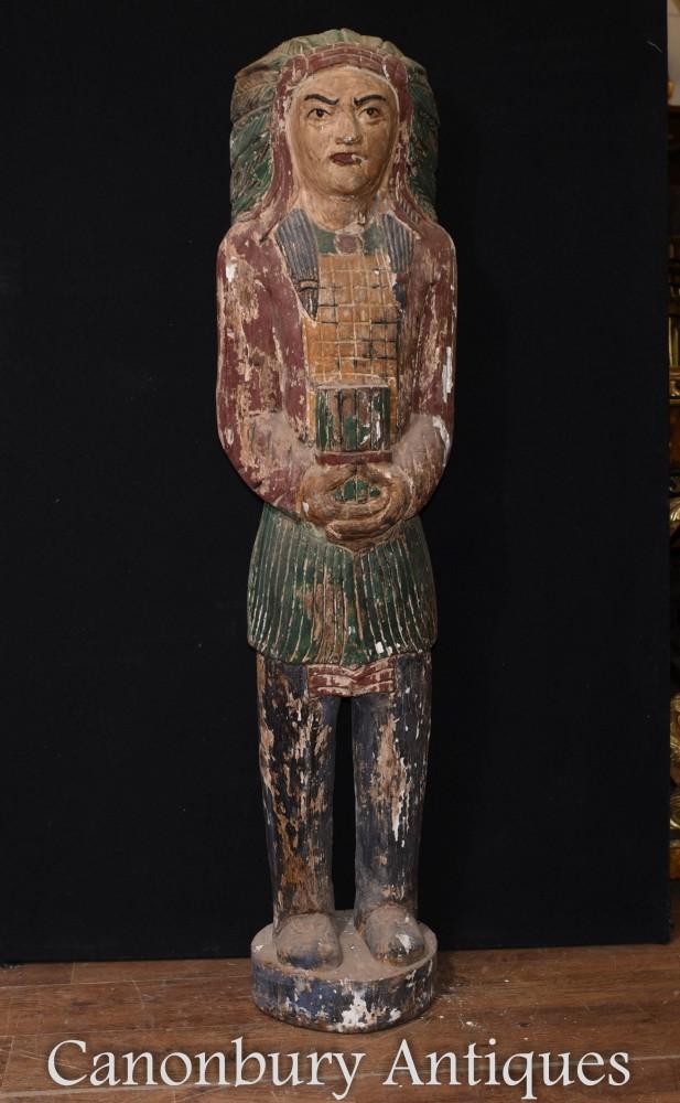Statue d'amérindienne sculptée - Chef indien