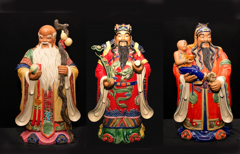 Trois hommes chinois en porcelaine Fu Lu Shou - Qing China Sanxing