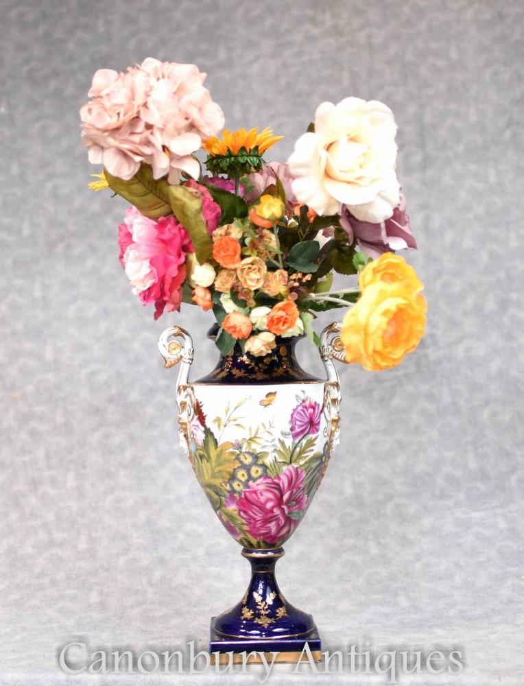 Vases en porcelaine allemande - Urne à fleurs tropicale de la poterie de Dresde