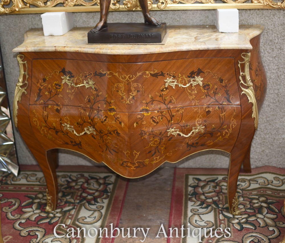 Commode French Bombe - Commode à tiroirs en marqueterie