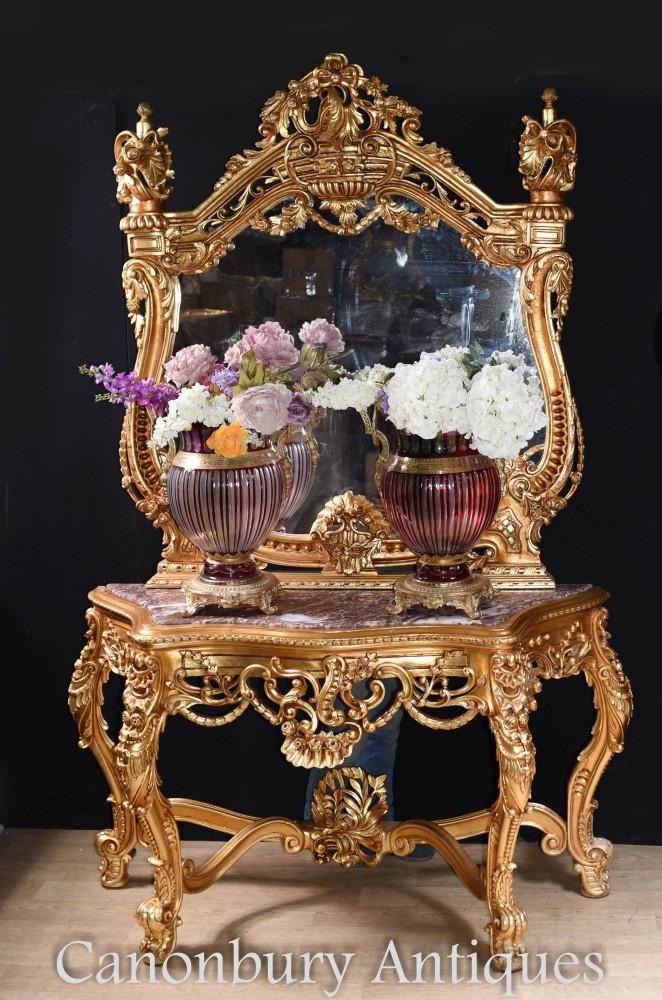 Console Italienne Dorée et Miroir Rococo