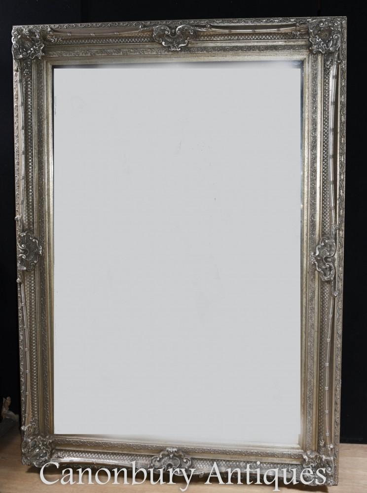 Grand miroir victorien - cadre doré à l'argent, hauteur de 7 pieds