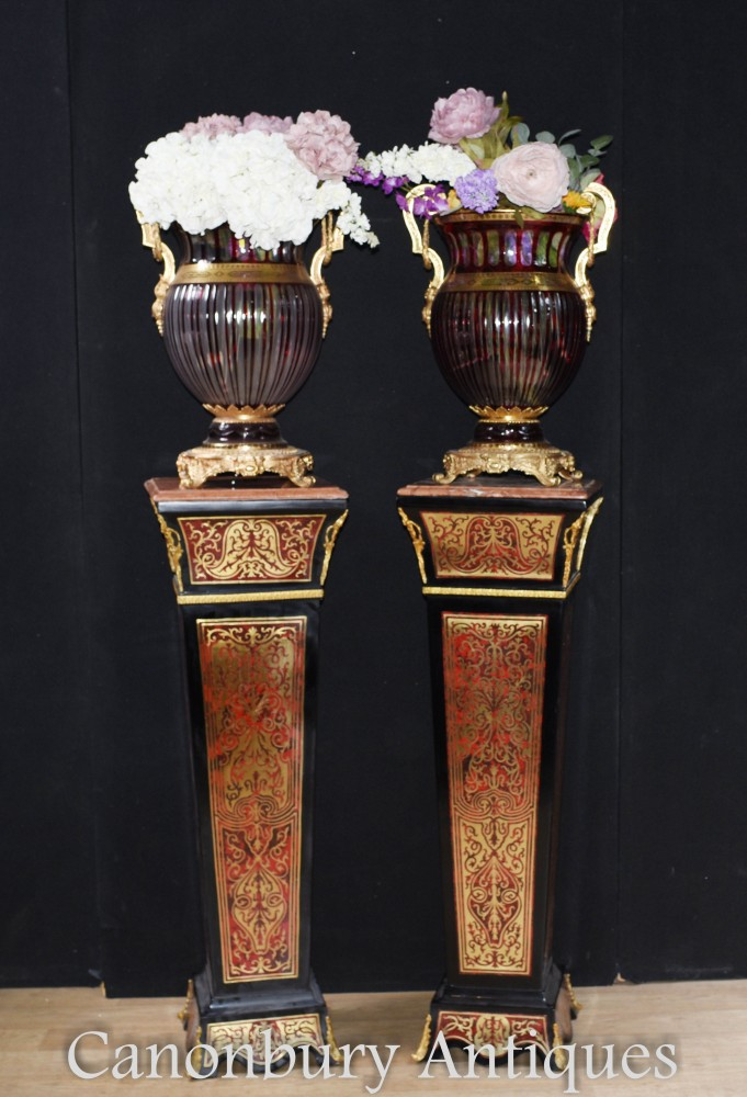 Paire De Guéridons Boulle - Incrustation Louis XVI