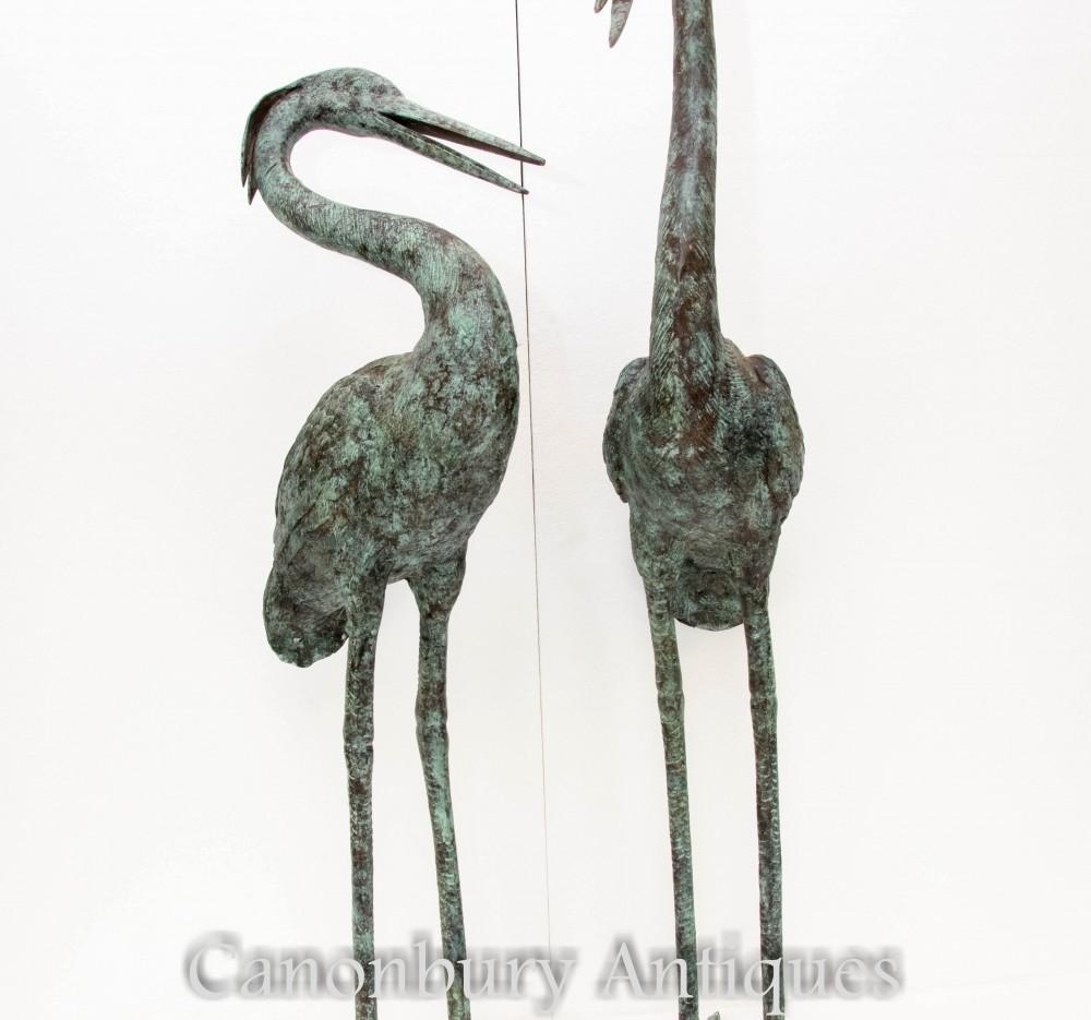 Paire De Statues En Héron En Bronze - Sculptures Japonaises