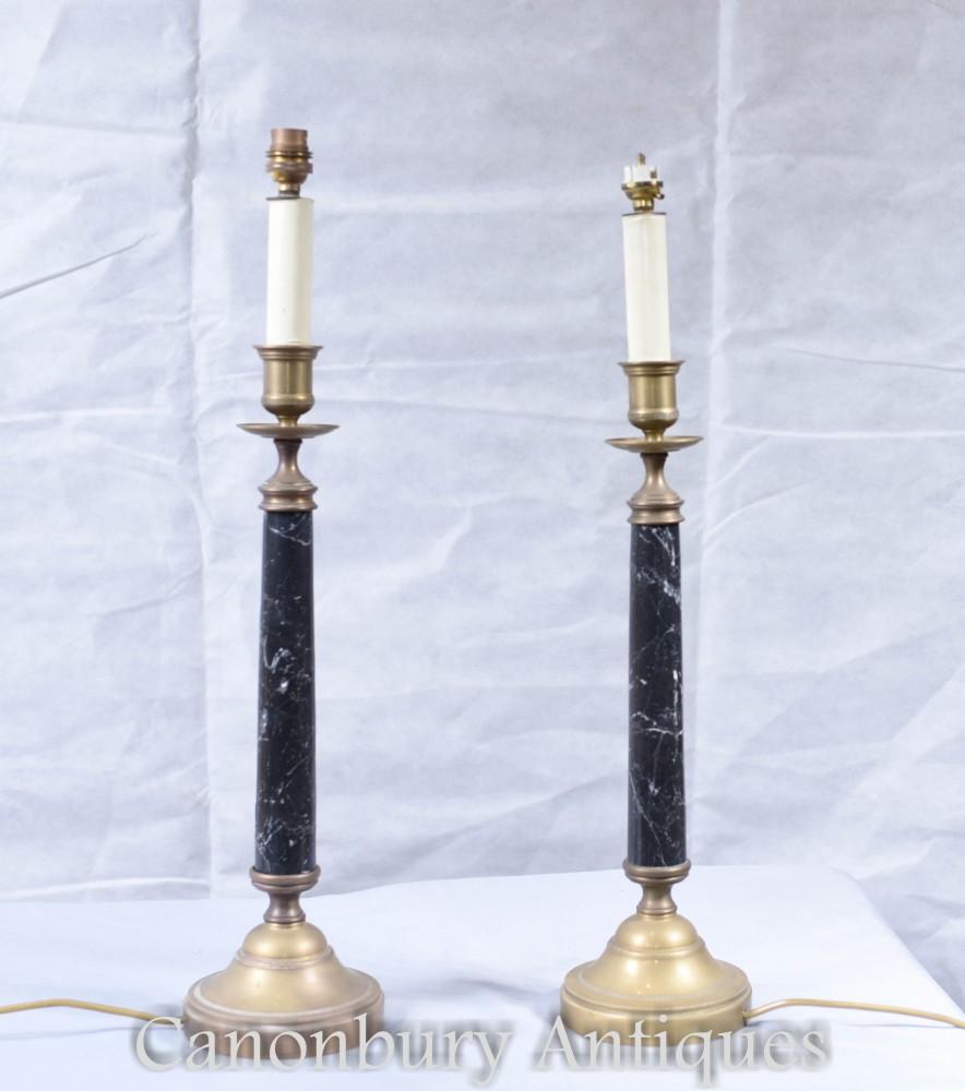 Paire de lampes de table colonne de style Régence