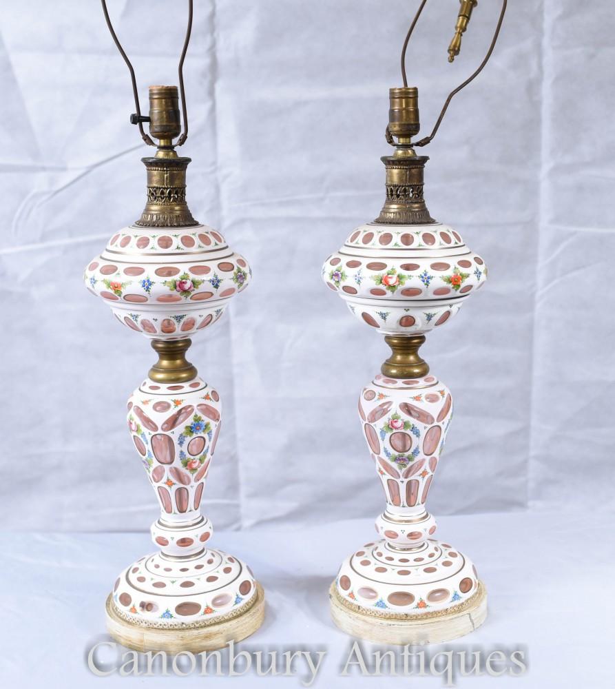 Paire de lampes de table en porcelaine allemande - lampes antiques en verre de Bohême