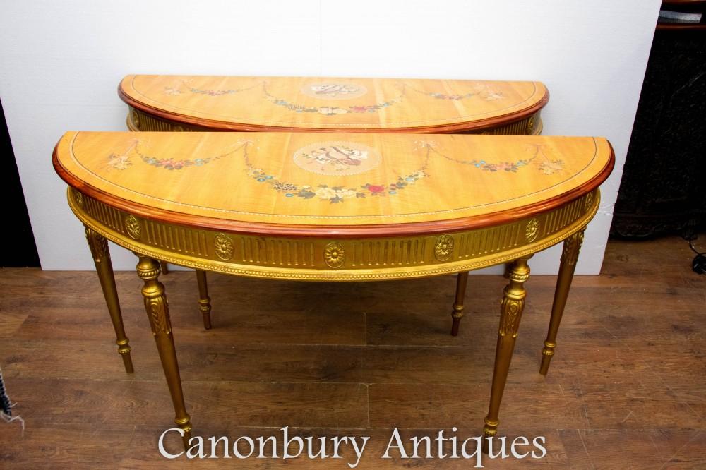 Paire de tables console Adams avec dessus peint, forme Demi Lune