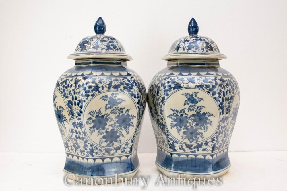Paire de vases chinois en porcelaine Qing - Urnes peintes bleues et blanches