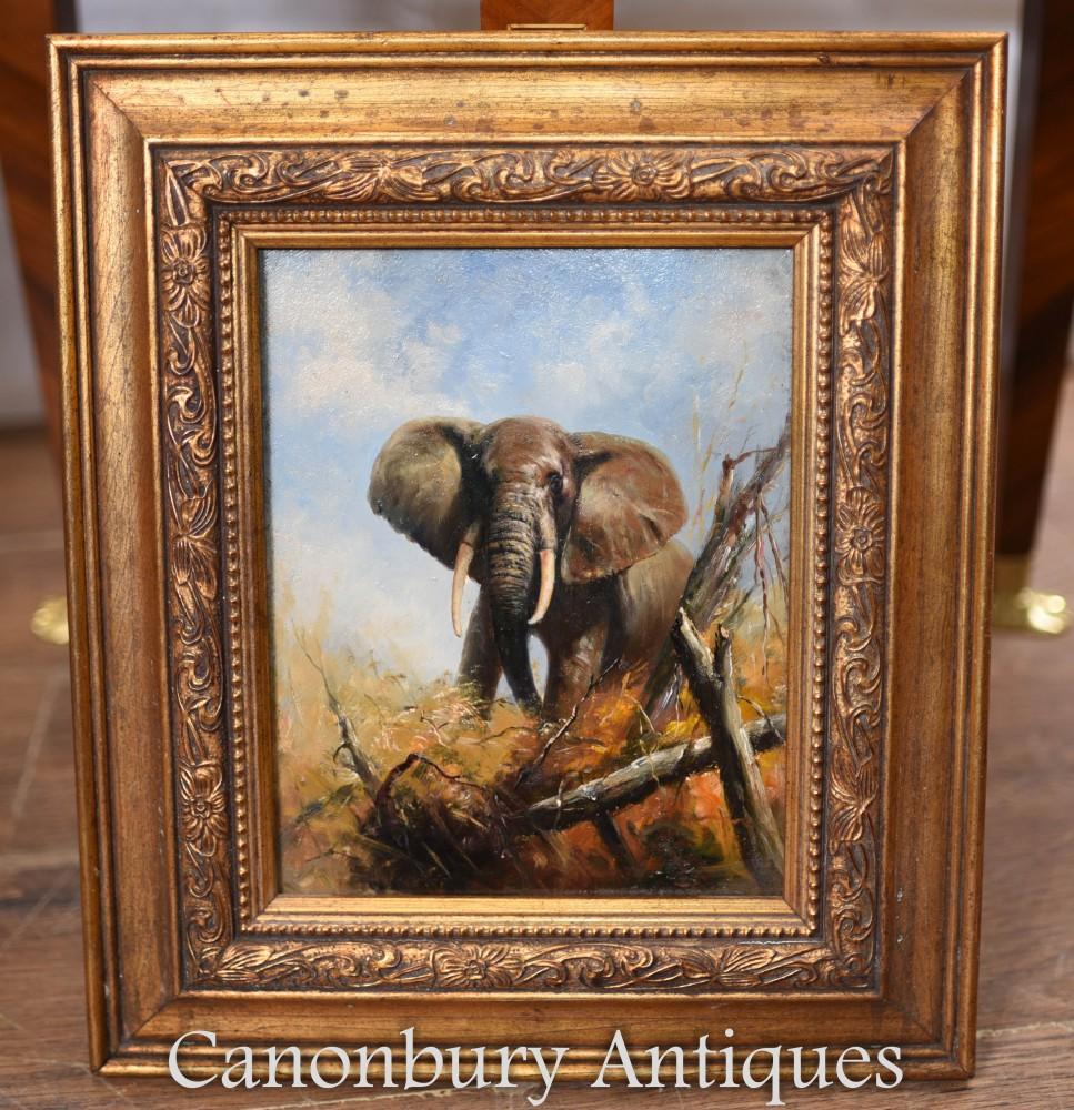 Peinture à l'huile éléphant africain doré cadre
