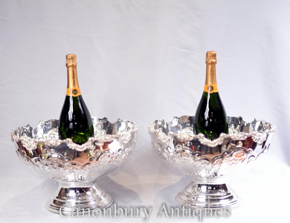 Pochettes à assiettes en argent à motif Sheffield - Refroidisseurs de vin à Champagne