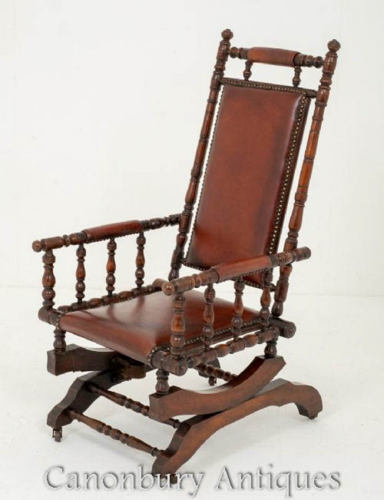 Rocking Chair Antique en Acajou Vers 1880