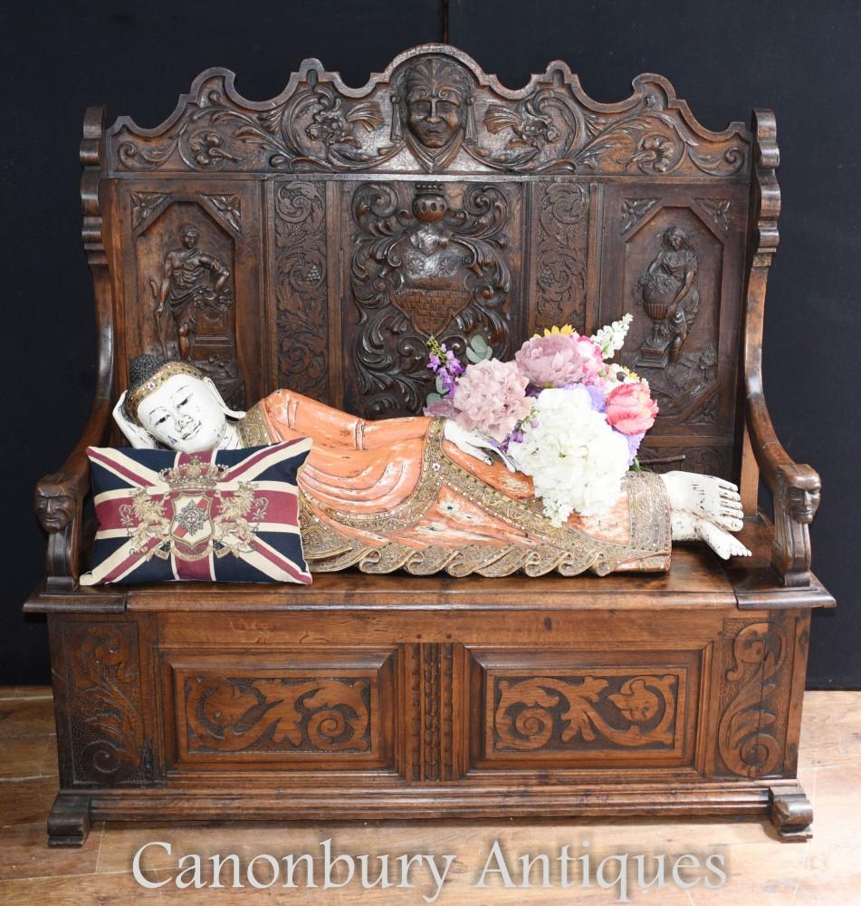 Table ancienne en chêne sculpté - Banquette Monks du XVIIIe siècle