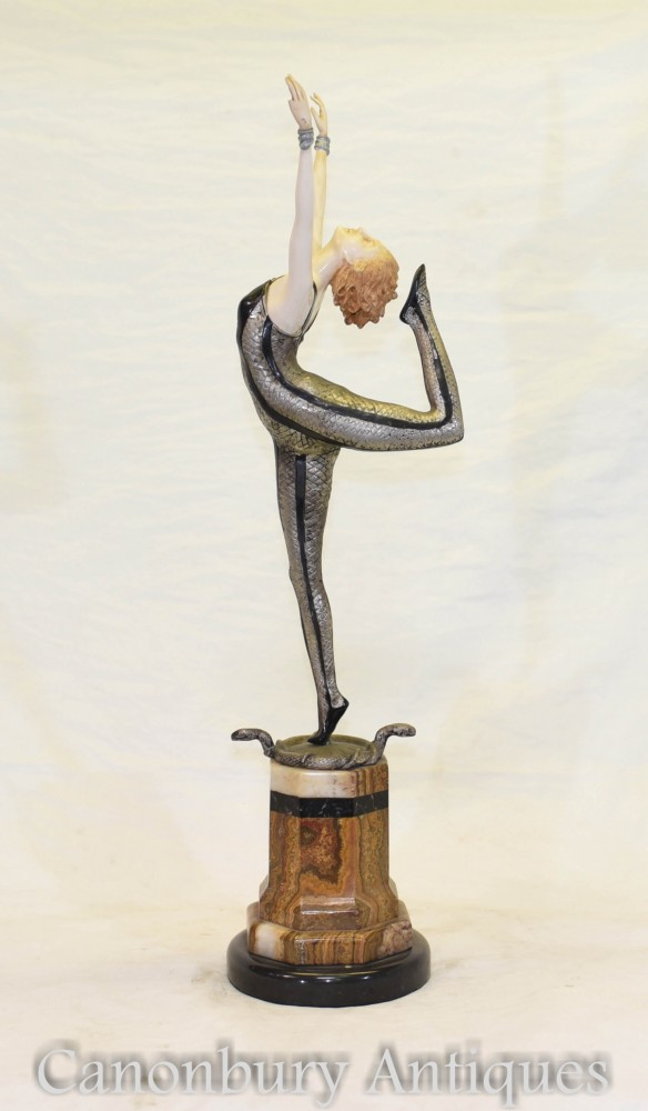 Art Deco Snake Dancer de Poertzl Bronze Ivorine