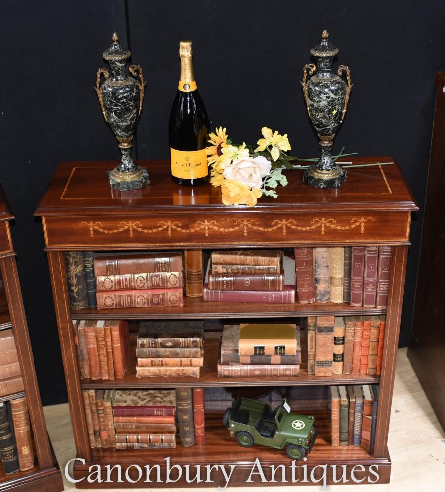 Bibliothèque ouverte frontale Regency - Acajou Sheraton Inlay
