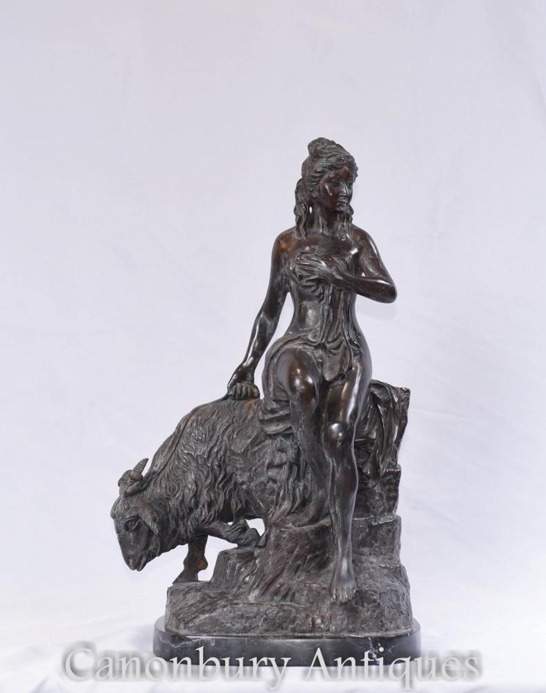 Bronze statue classique de jeune fille - Sculpture Figurine Chèvre italienne