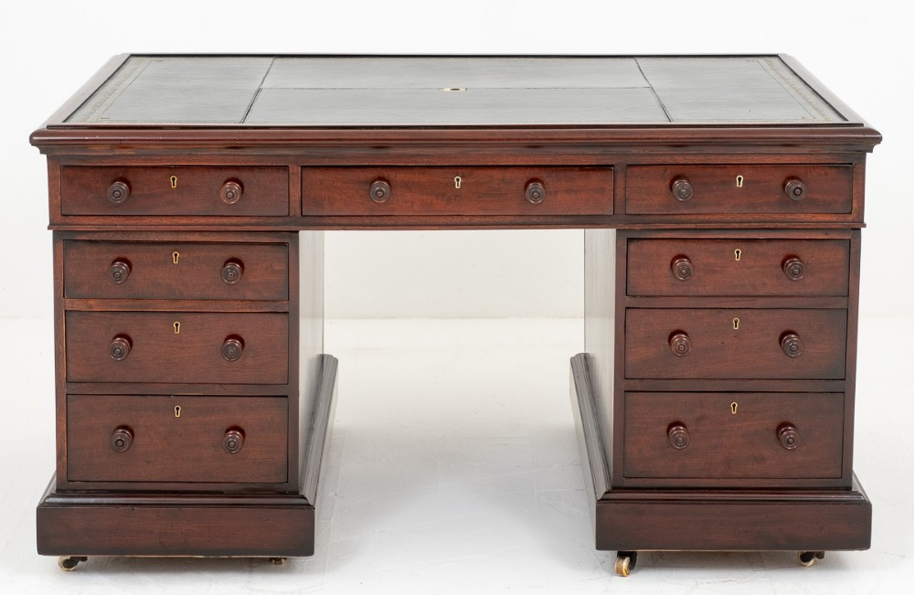 Bureau William IV Partners - Acajou Antique 19ème Siècle