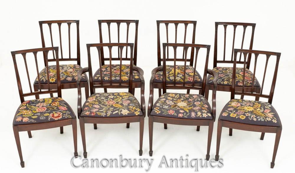 Chaises de salle à manger en acajou Hepplewhite, 8 diners antiques