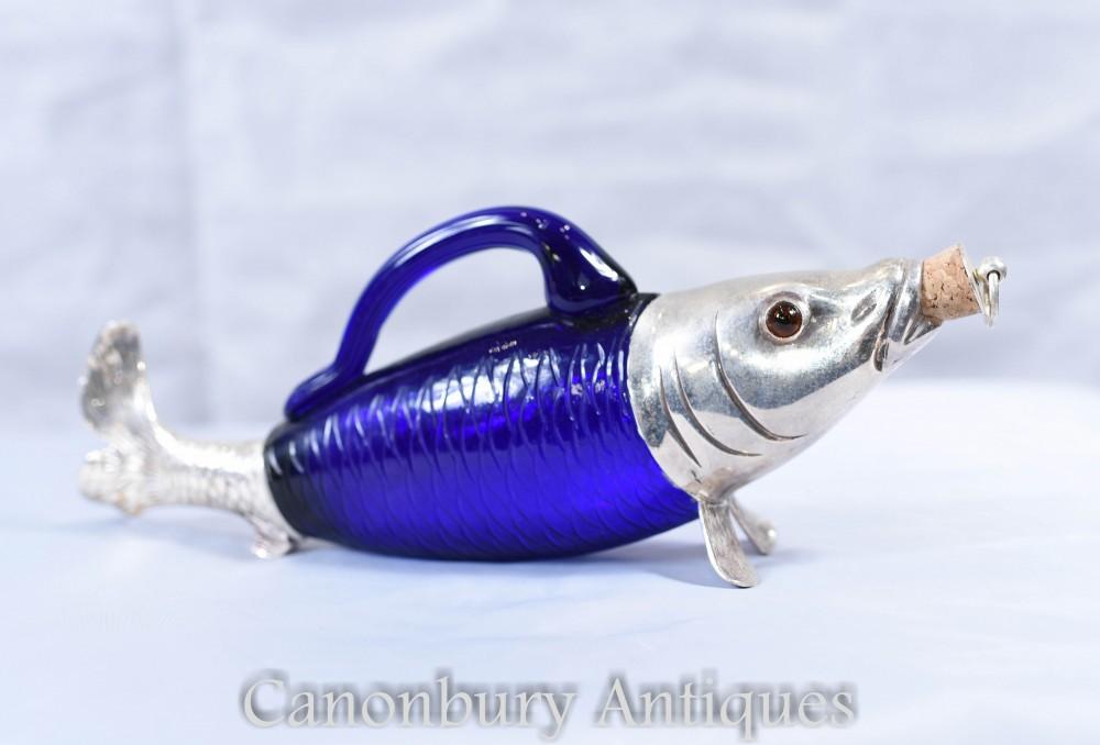 Décanteur de bouteille de poisson en verre argenté victorien