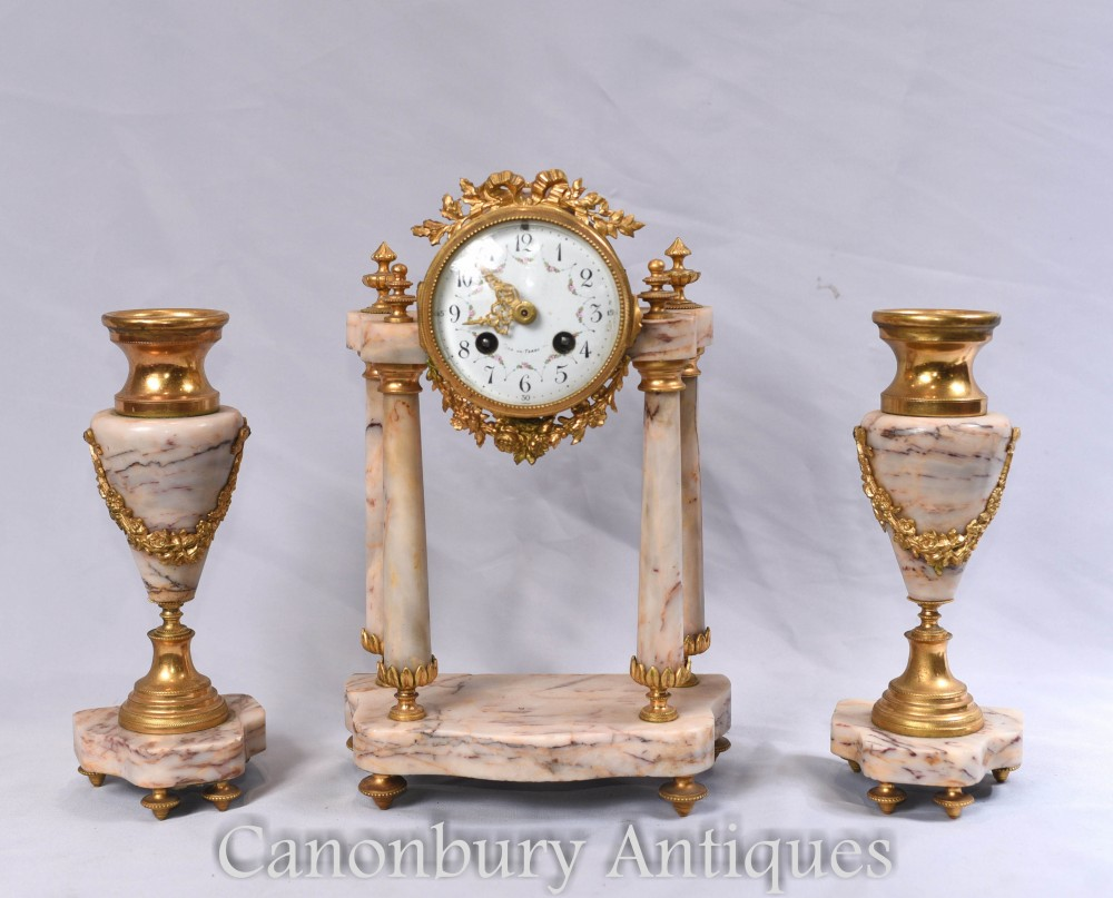 Ensemble d'horloges antiques - Garniture d'horloges en marbre