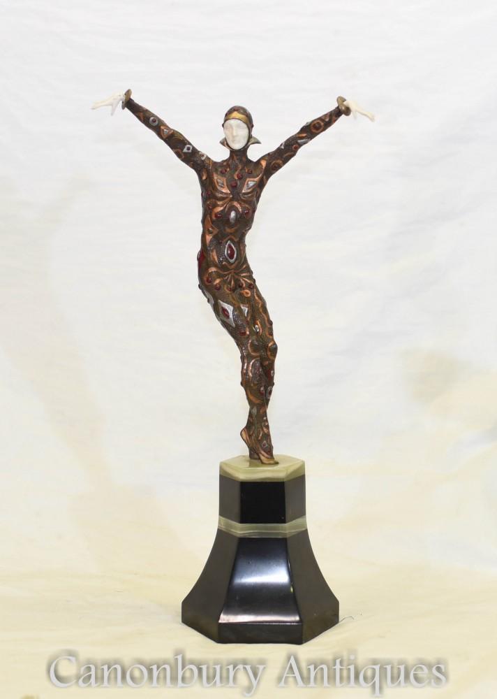 Figurine Art Déco En Bronze Chiparus Astra