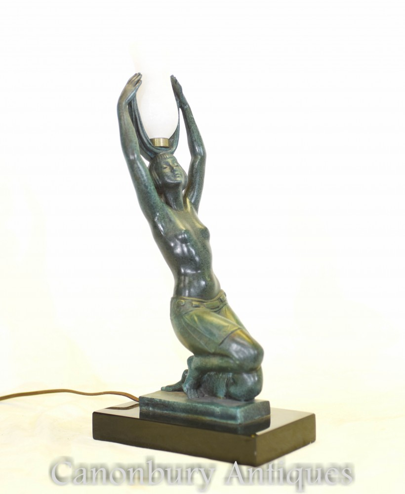 Figurine Lampe Art Deco En Bronze - Lampe De Table Fayral