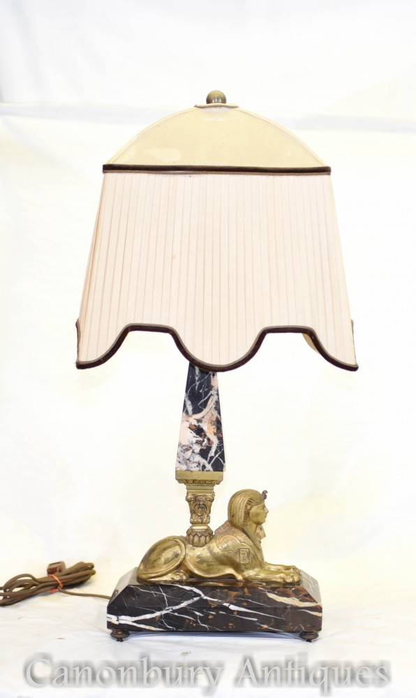 Lampe Sphinx Art Déco Antique - Lampe de table avec obélisque en marbre