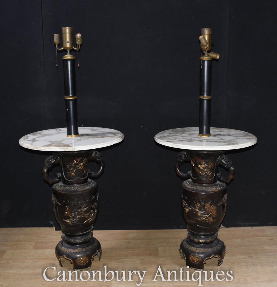 Lampes de table d'appoint antiques japonaises - Lampes avec base en bronze