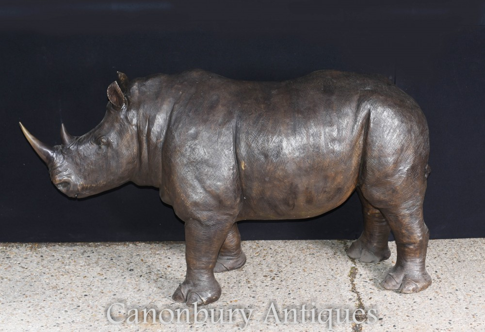 Large Bronze Rhino Statue African Rhinocerus Animal