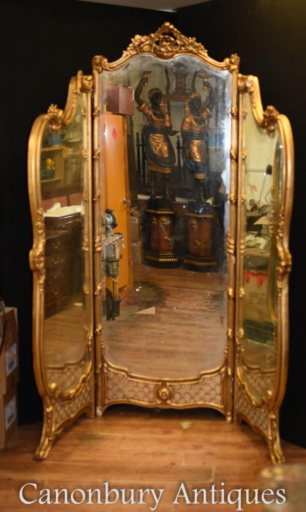 Miroir Français à Plis Dorés d'époque Louis XVI