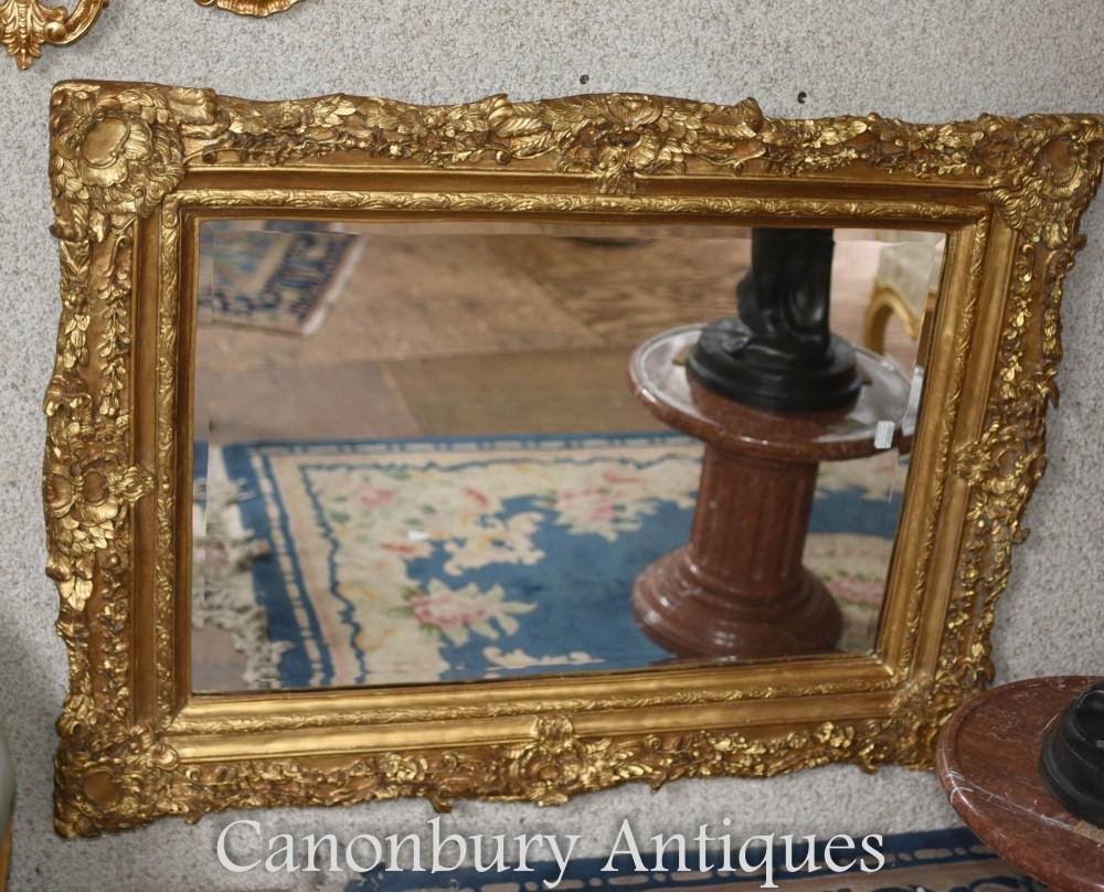 Miroir manteau doré - Verrière sur verre anglais