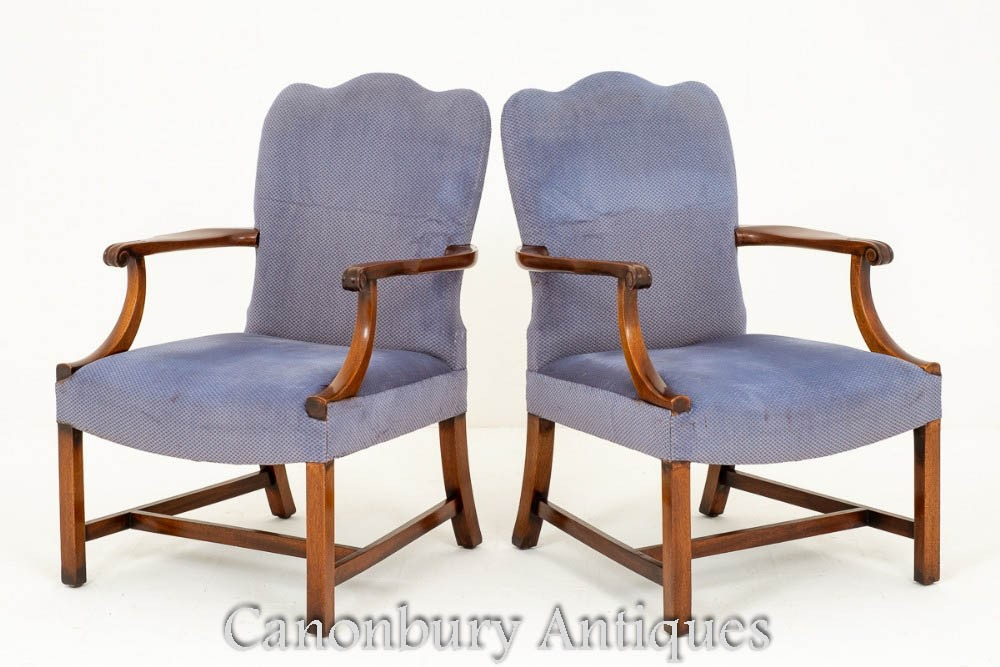 Paire De Fauteuils Gainsborough En Acajou Antique
