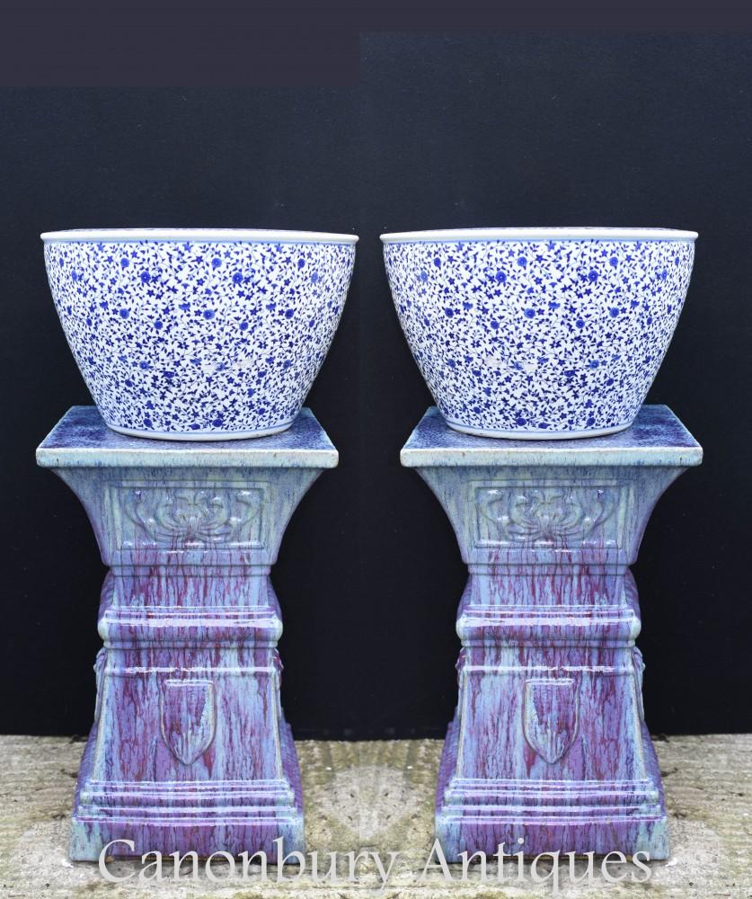 Paire De Jardinières En Porcelaine De Ming Chinois - Ming Pots