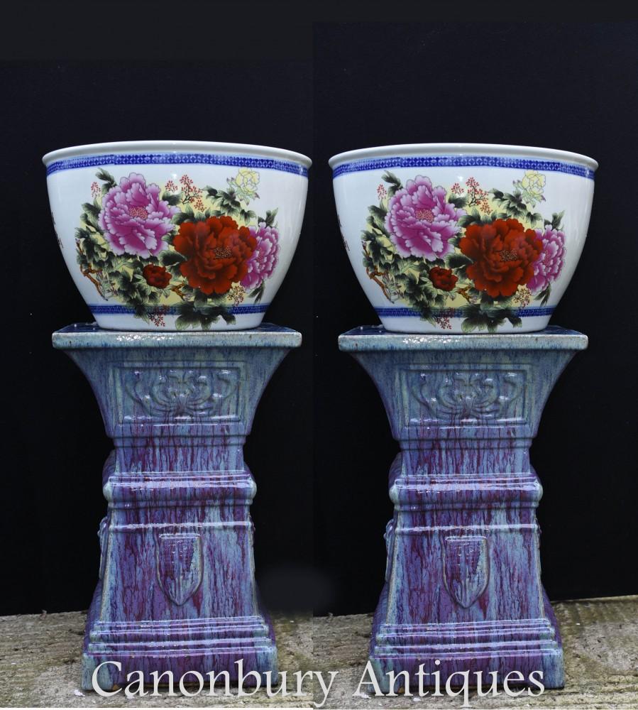 Paire De Pots De Jardinière En Porcelaine