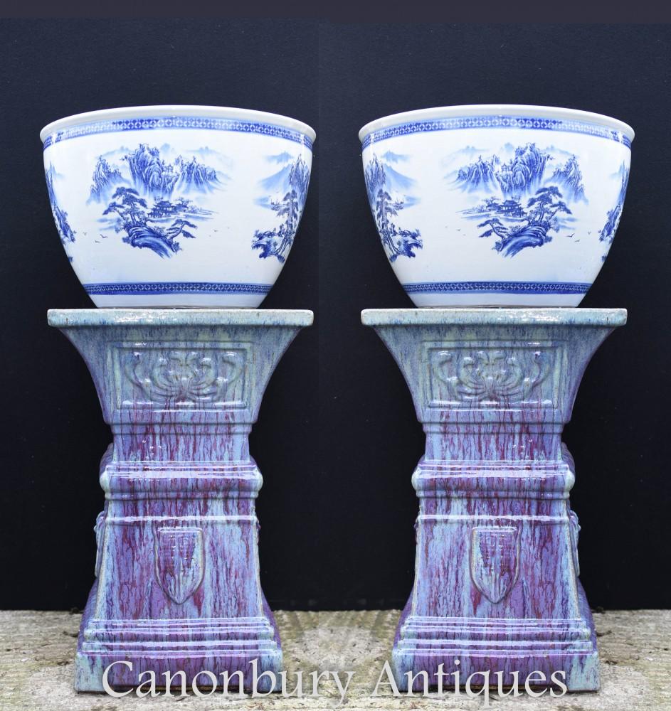 Paire Pots De Jardinières En Porcelaine De Chine Bleu Et Blanc - Ming