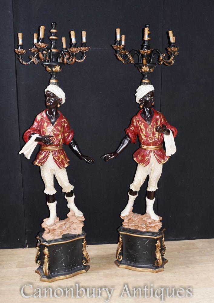 Paire de statues de candélabres vénitiens Blackamoor, Italie