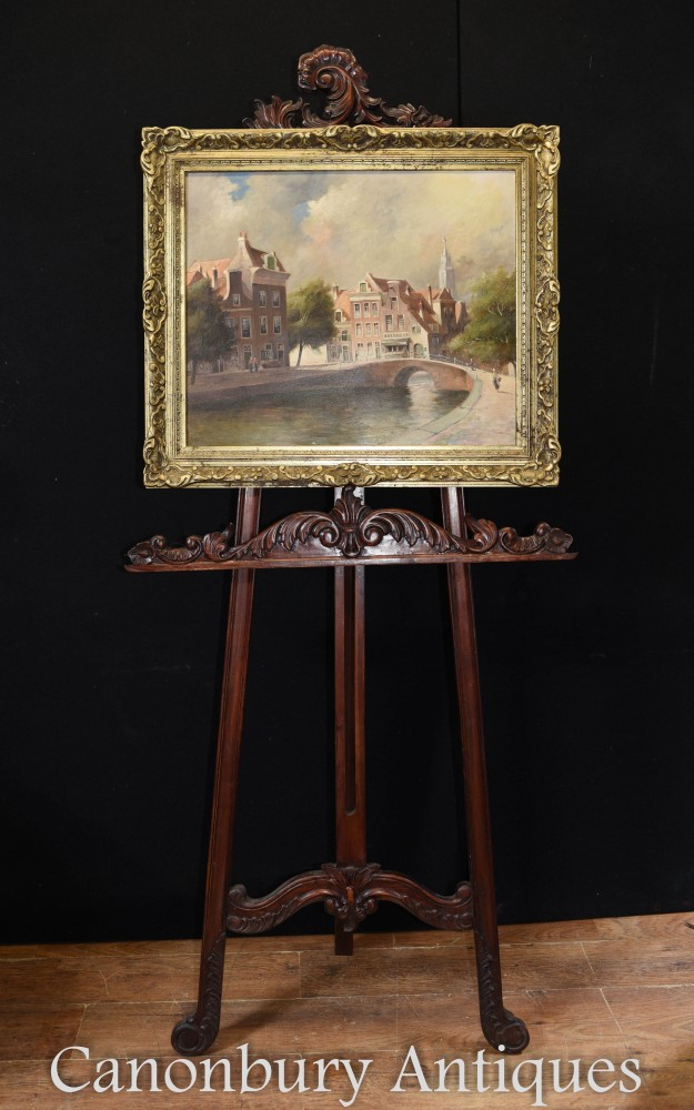 Peinture à l'huile ancienne Bruges River Scene Belgian