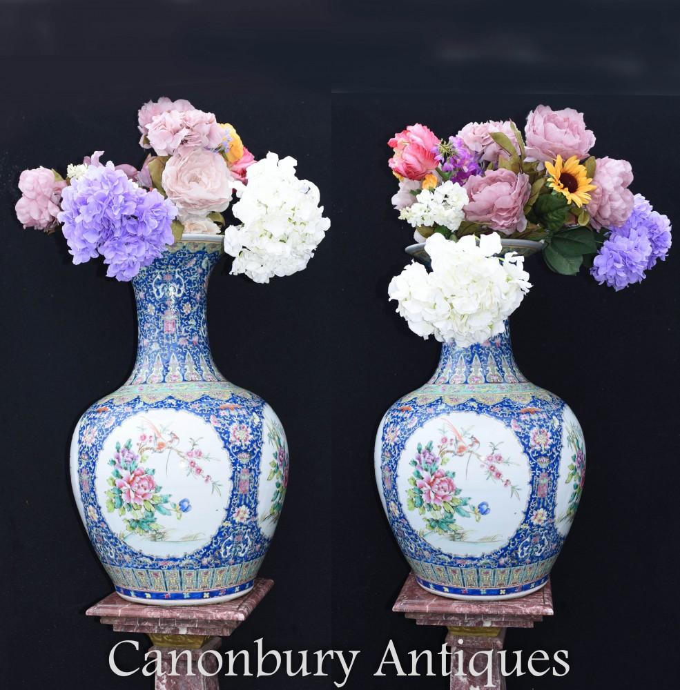 Porcelaine StandPair Ming Vases en Porcelaine - Urnes du Temple de Shanping Chinois