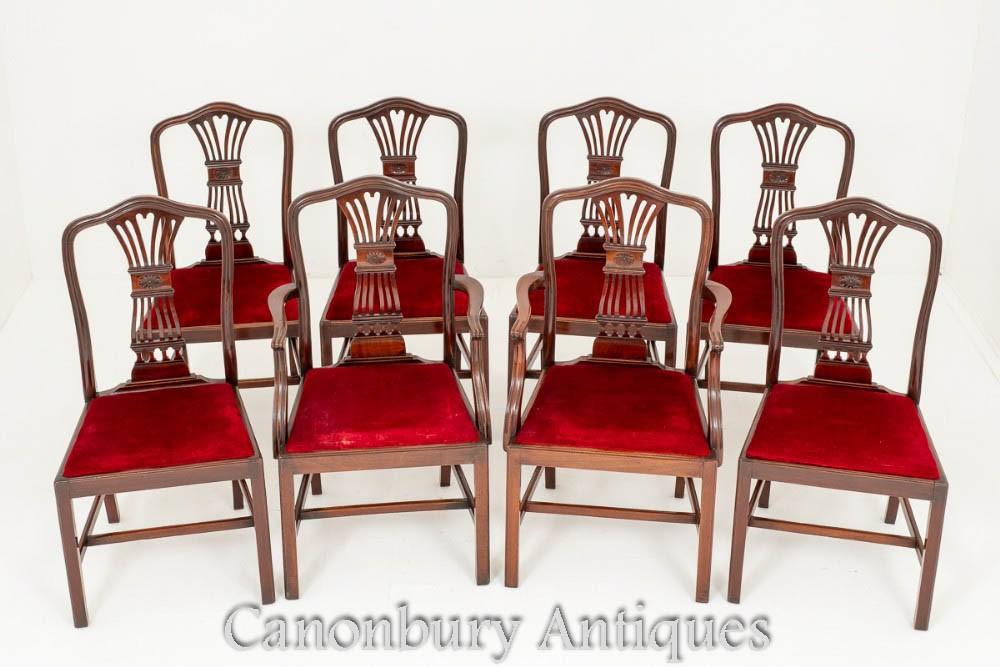 Réglez les chaises de salle à manger Hepplewhite en acajou