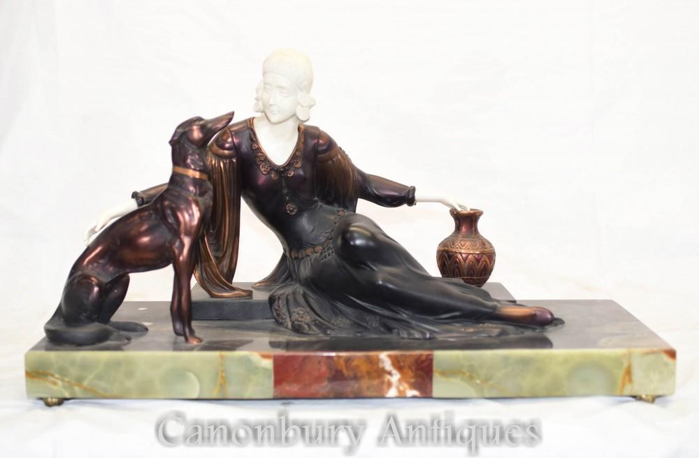 Statue Art Déco Femme et Chien Borzoï par Menneville