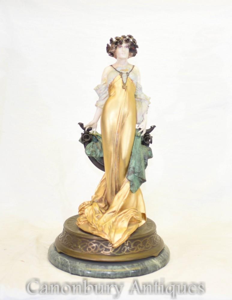 Statue Art Fille Fleurie par Max Turner Signée