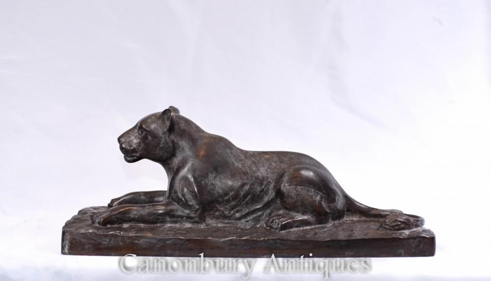 Statue Léopard En Bronze - Chat Art Déco