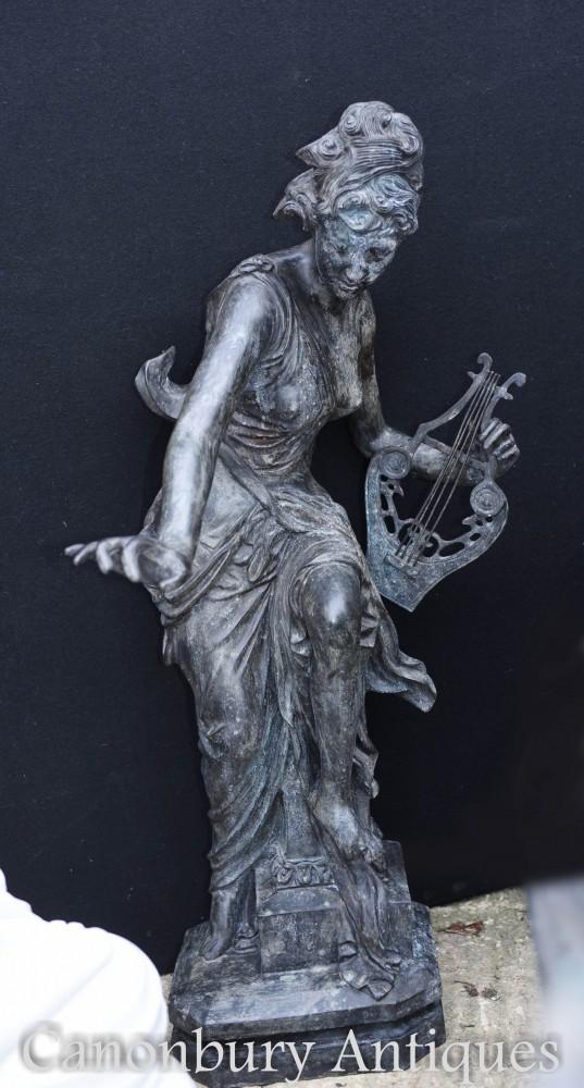 Statue de bronze de jeune fille romaine - Grande figurine en lyre classique